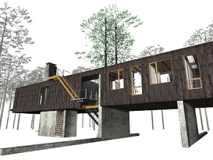 The Tree House was proposed for a lightly forested site in Ohio with the intention of minimizing disturbance to the immediate surroundings.